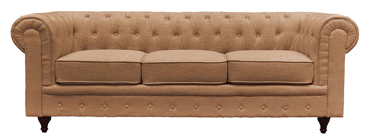 Classic Scroll Arm Tufted Button Chesterfield Sofa