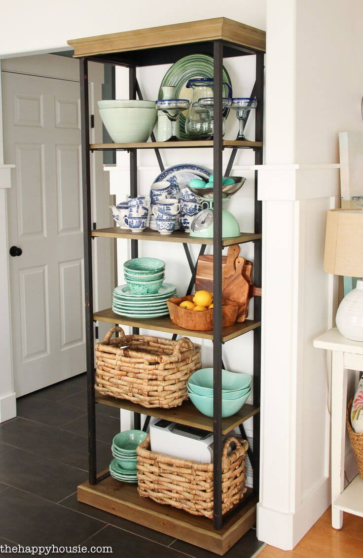 Rustic Industrial Floor to Ceiling Serving Shelf