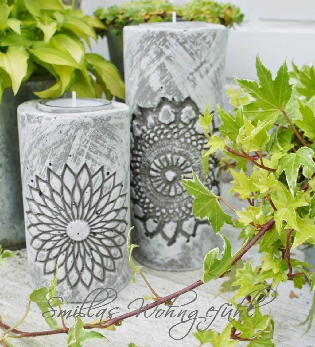 Concrete Candle Motive with Mandala Design