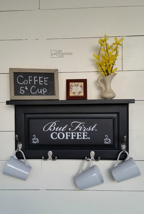 Wall Shelf with Hooks and Stenciling