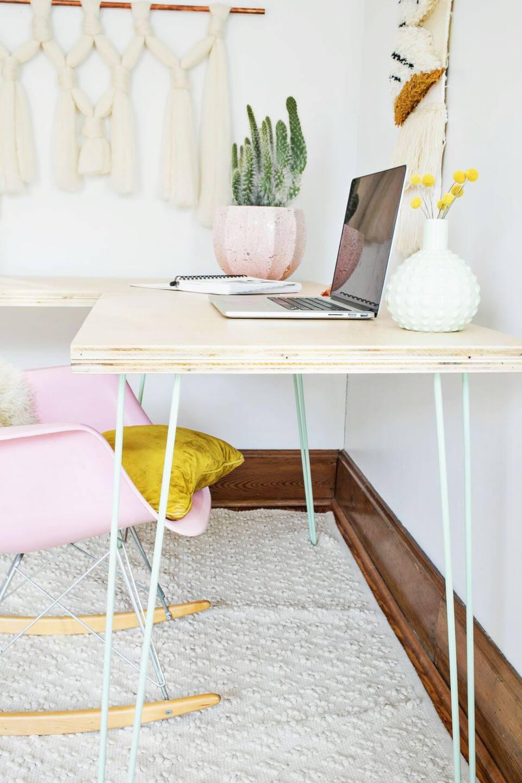 DIY Plywood Desk with Metal Legs