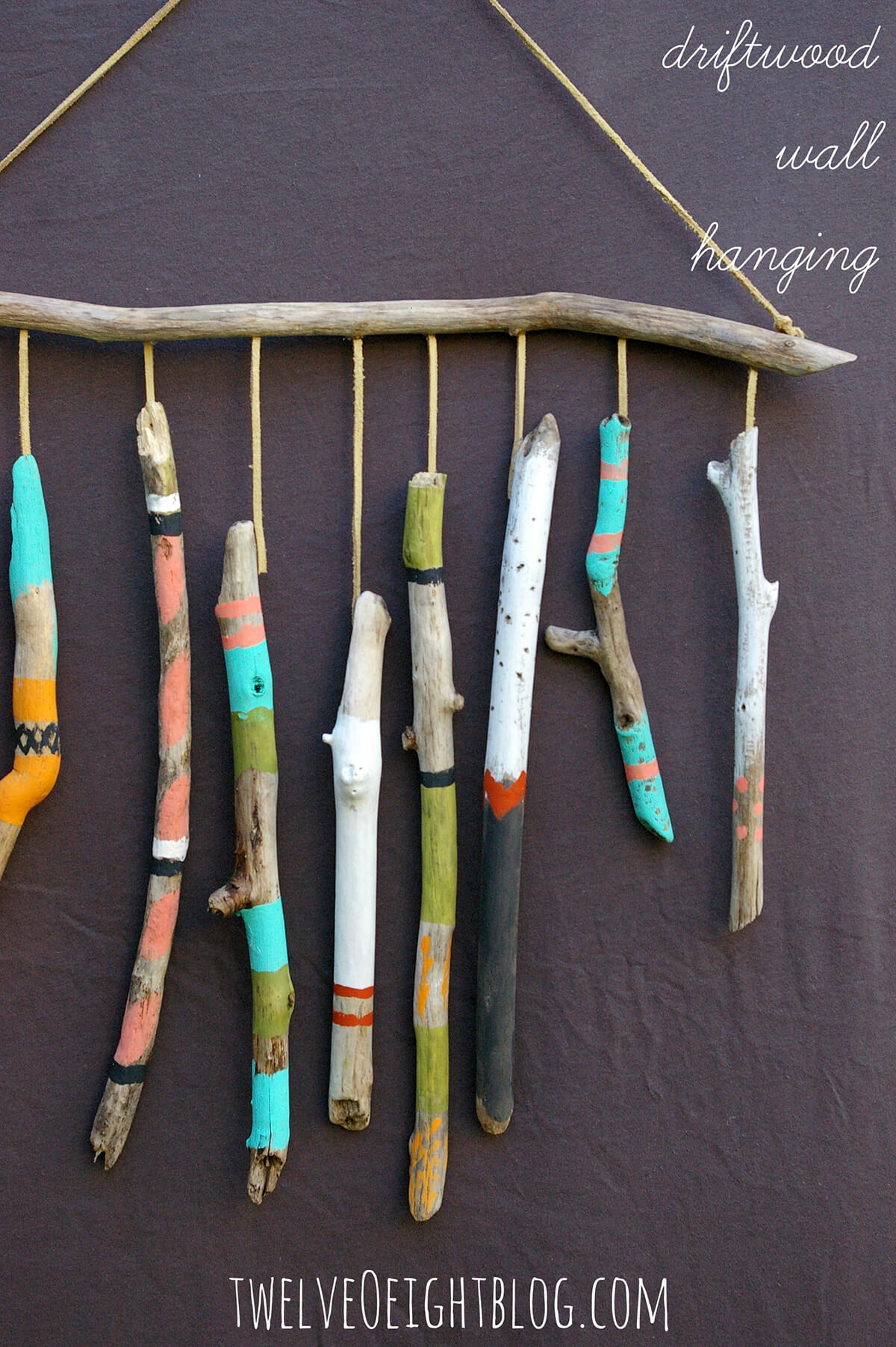 Bright Colorful Hand Painted Driftwood Wall Hanging