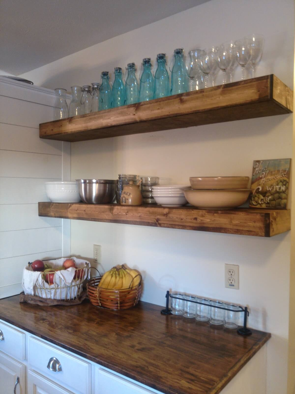 Elegant Farm Style Kitchen Heavy Duty Floating Shelves