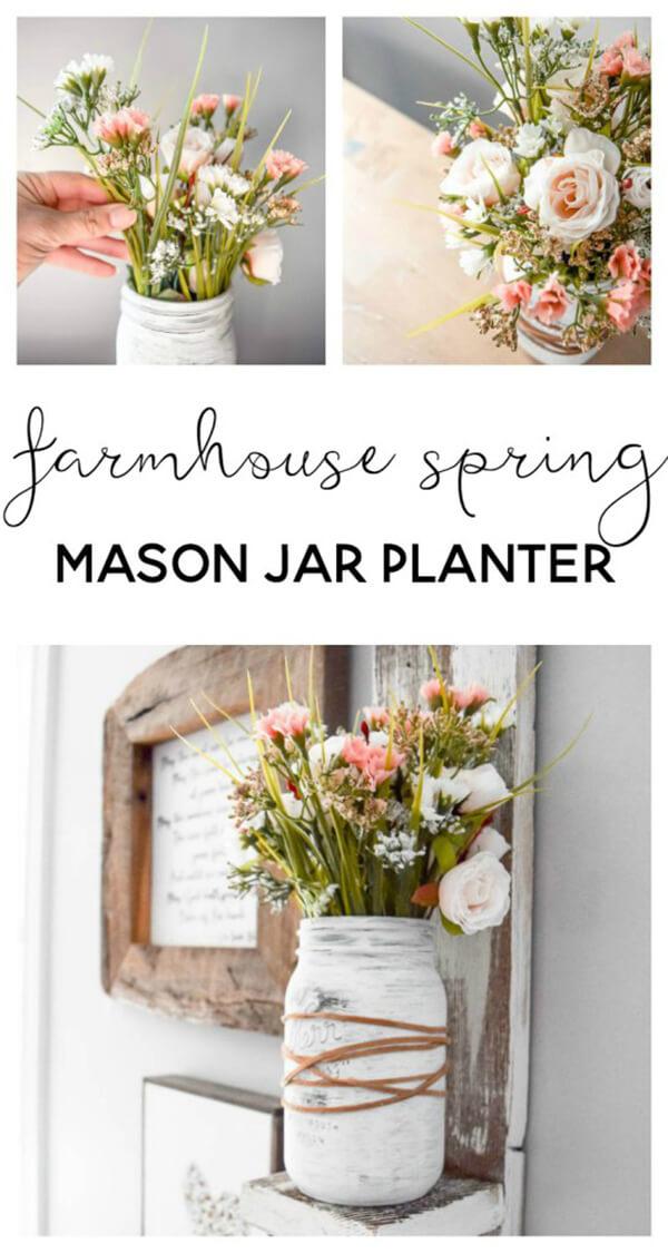 Farmhouse Style DIY Mason Jar Flower Arrangement