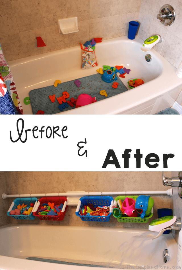 DIY Tubside Bath Toy Organizer