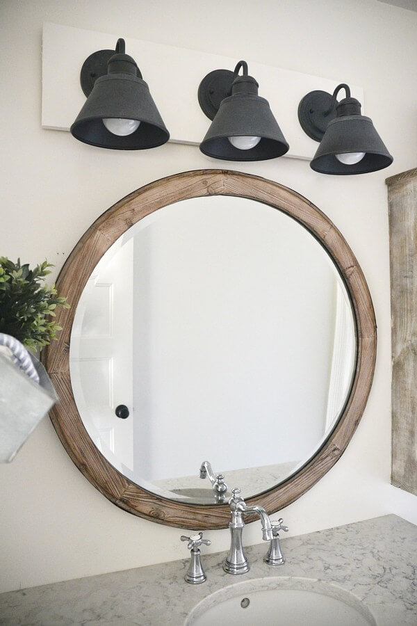 Weathered Wood Circular Mirror for the Bath