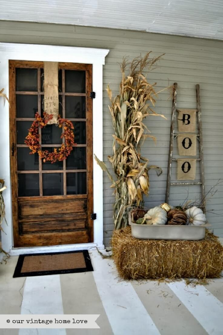 Rustic Halloween Fall Porch Decor