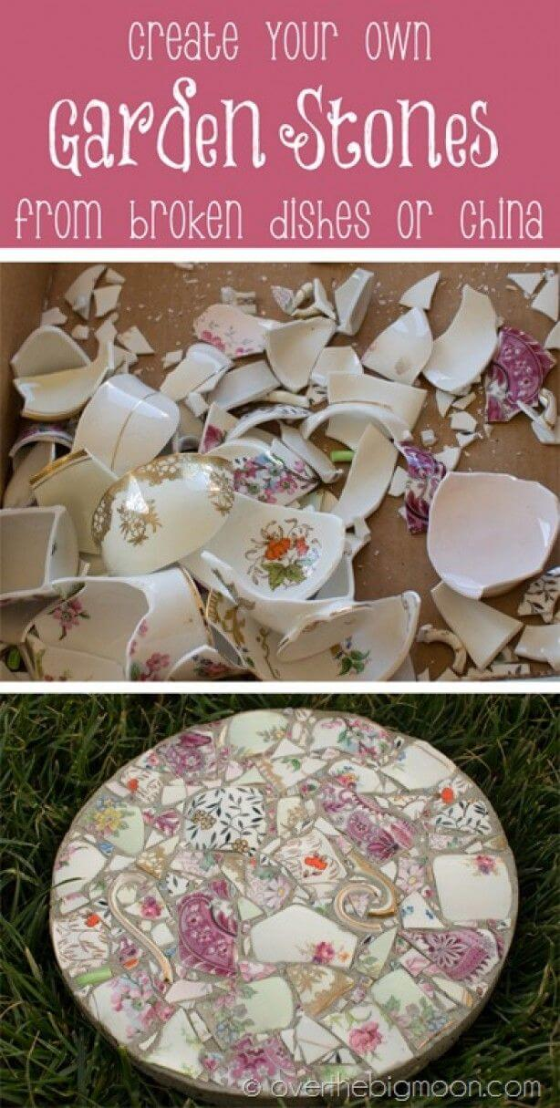 Make a Garden Stone with Broken China