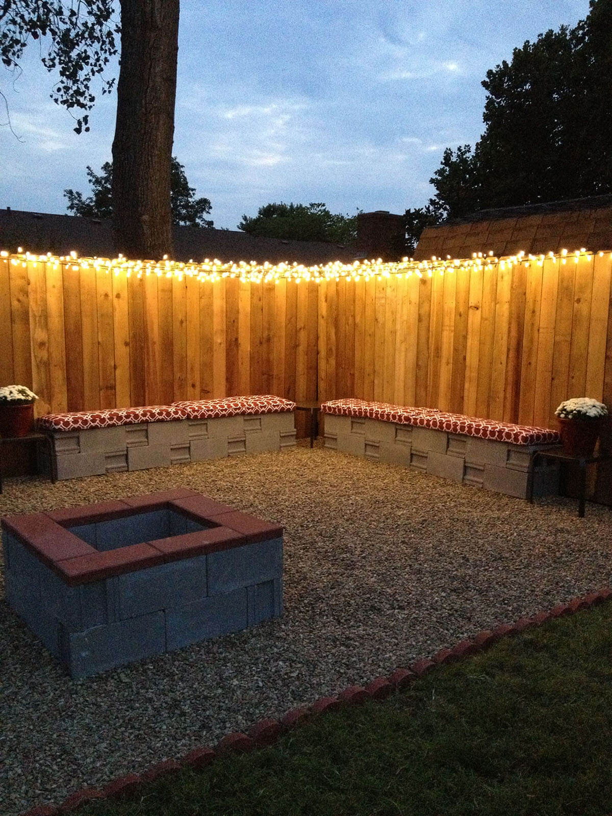 Christmas Lights Along the Top of the Fence