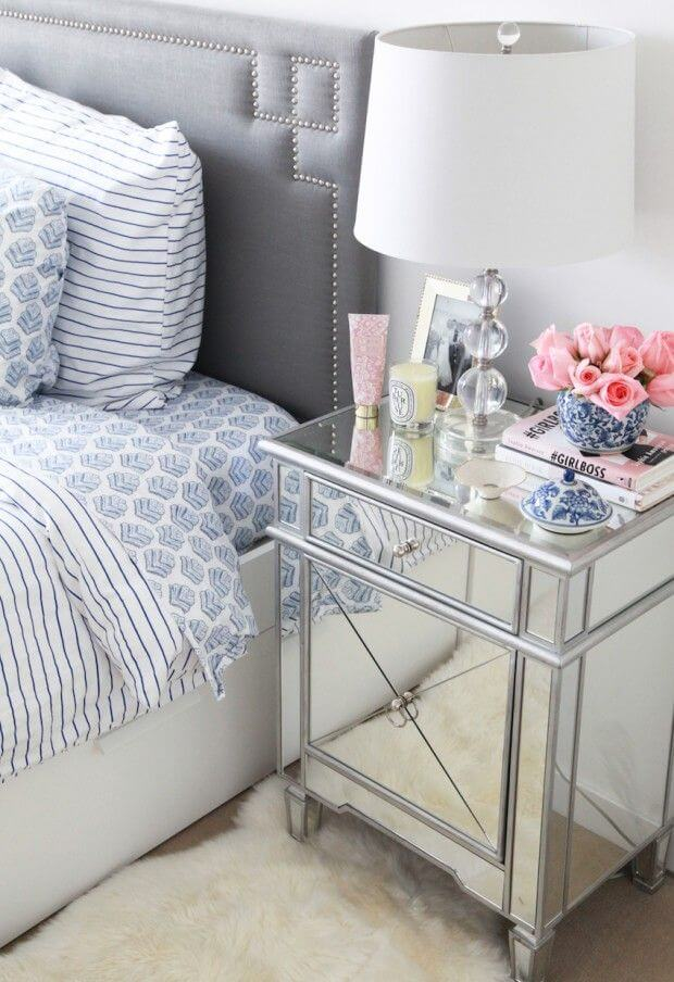 Mirrored Nightstand Brightens Room With Reflected Light