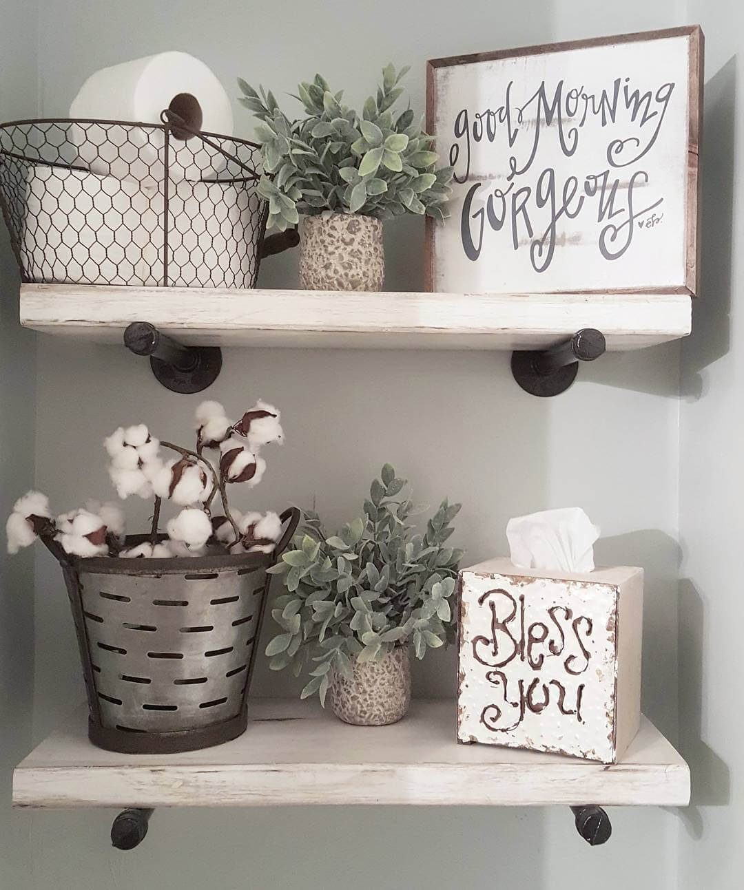 Country Chic Metal And Wood Bathroom Shelves