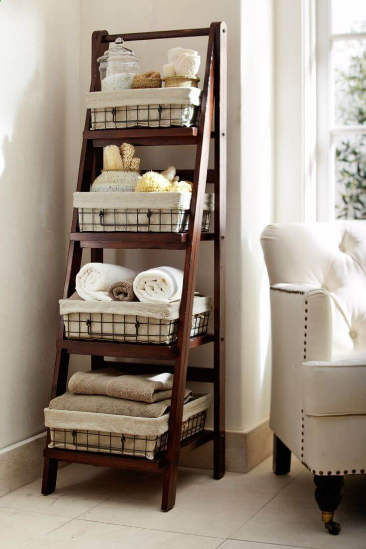 Repurposed Old Ladder Ideas for the Bathroom