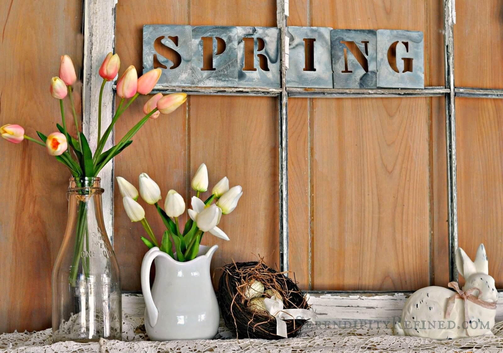 Tulip Arrangements and Metal Sign