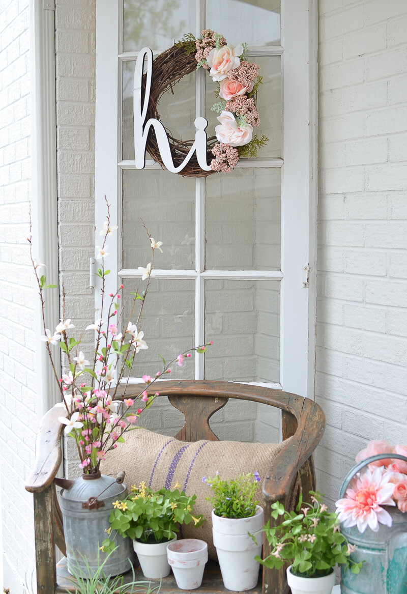 Twig and Flower Wreath, Water Can Vase