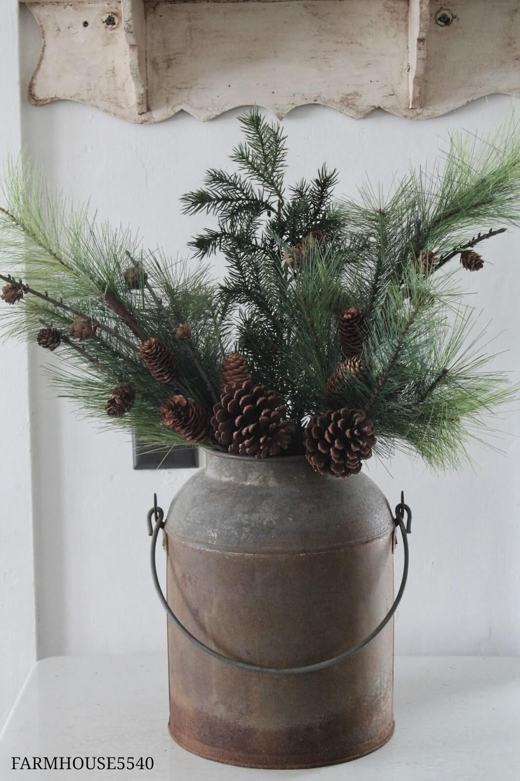 Cold Weather Arrangement in a Milk Can