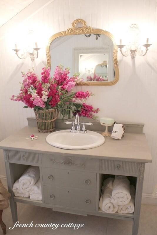 Repurposed Sideboard Sink Vanity with Storage