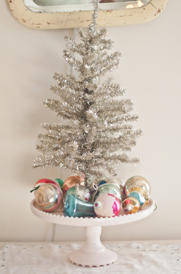Retro Cake Stand And Silver Tinsel Mini-tree