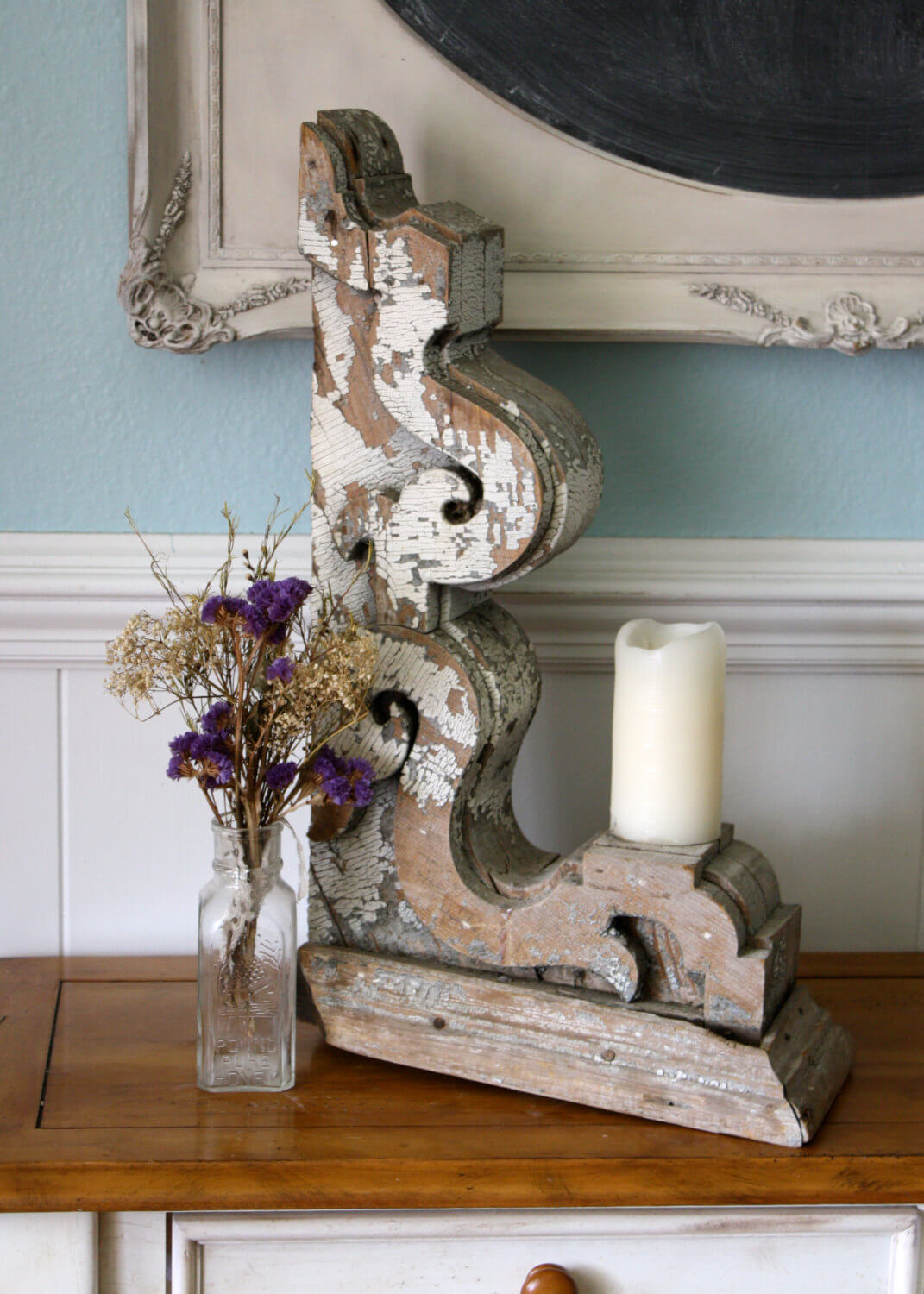 Repurposed Distressed Wood Corbel Candleholder