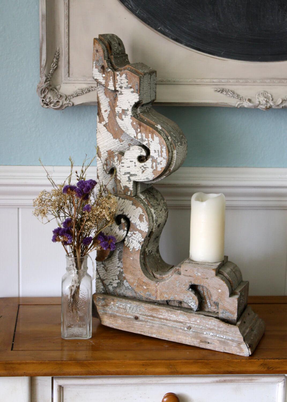 Repurposed Distressed Wood Corbel Candleholder