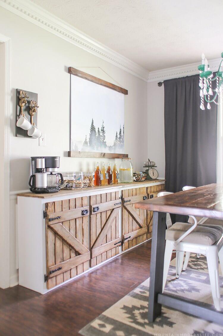 Barn Door Sideboard for Continental Breakfast