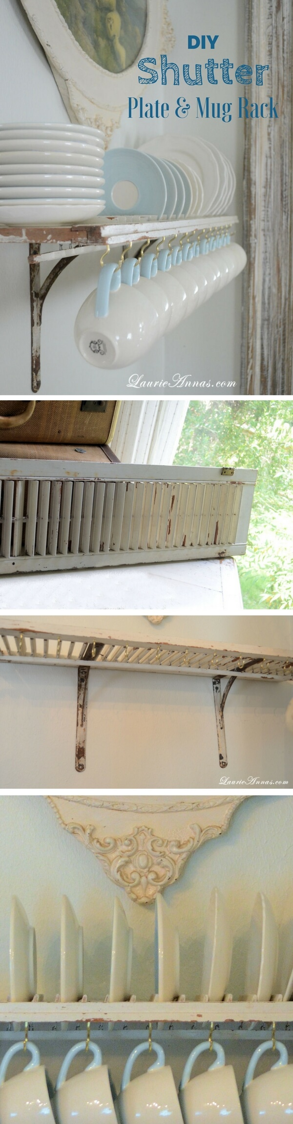 Plate and Mug Rack from a Reclaimed Shutter