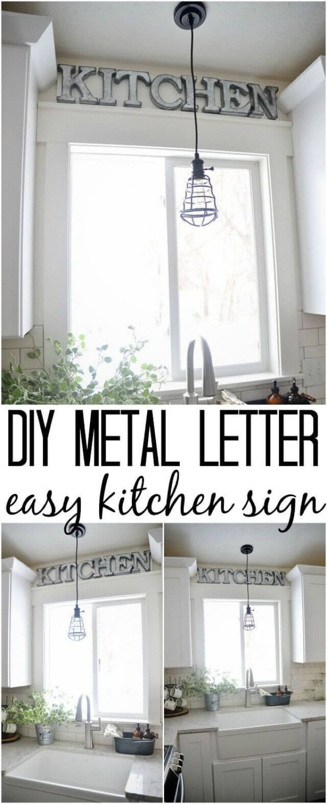 DIY Farmhouse Kitchen Decor Projects with Metal Letters