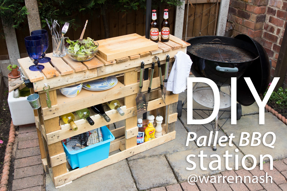 Pallets with Everything for DIY Grill Station