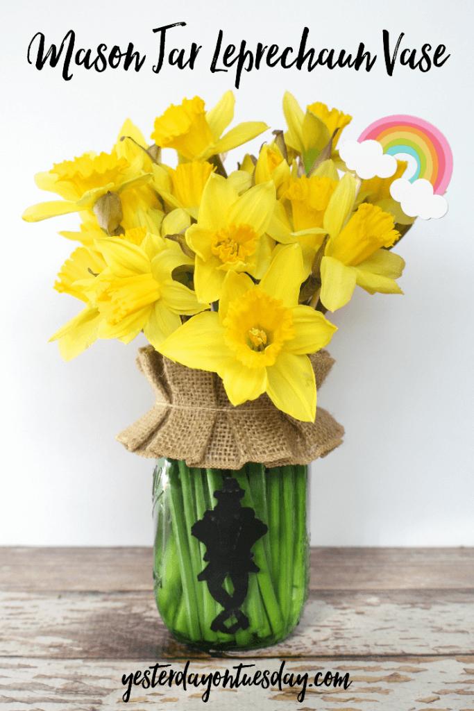 Whimsical Leprechaun and Burlap Vase