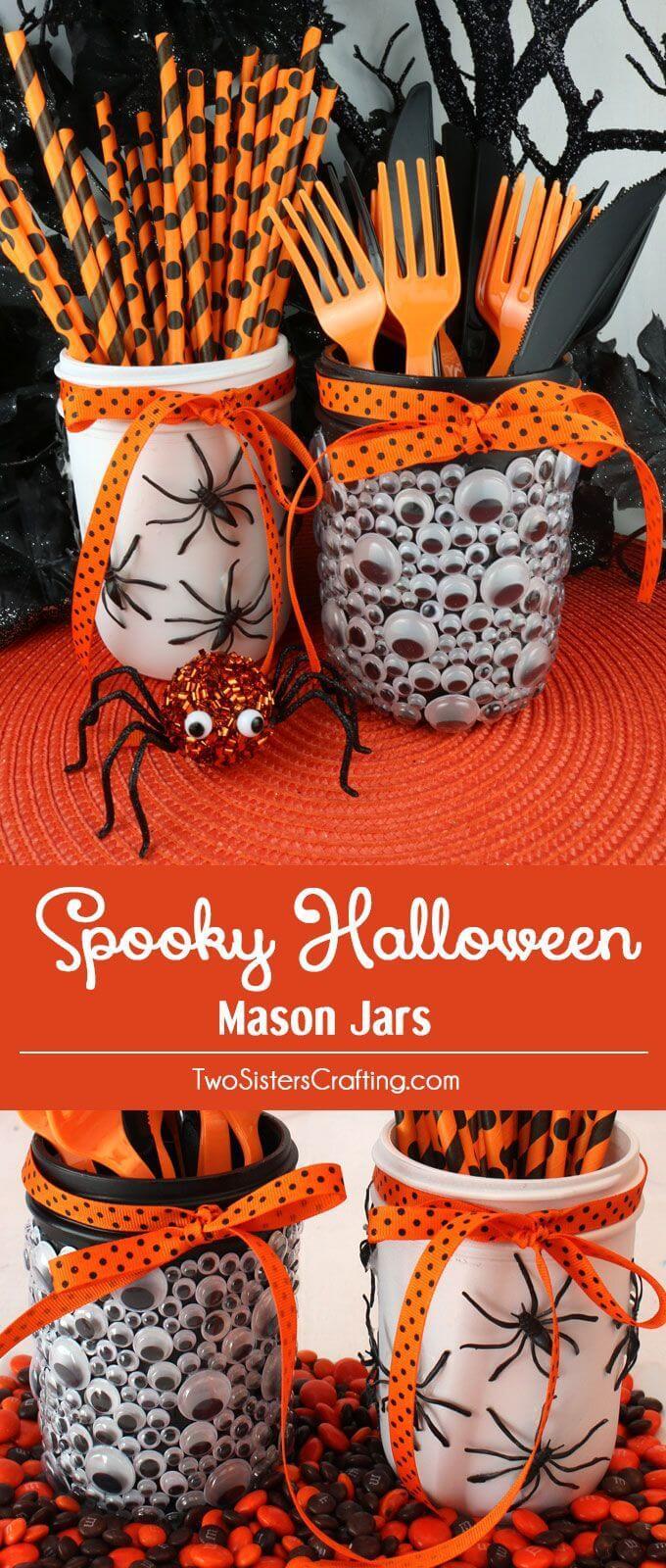 Creepy Mason Jar Halloween Crafts Party Decor