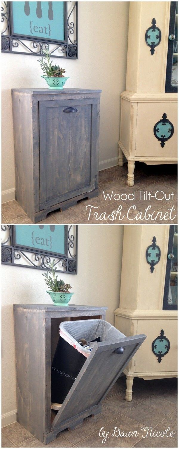 Wood Tilt-Out Door Trash Bin