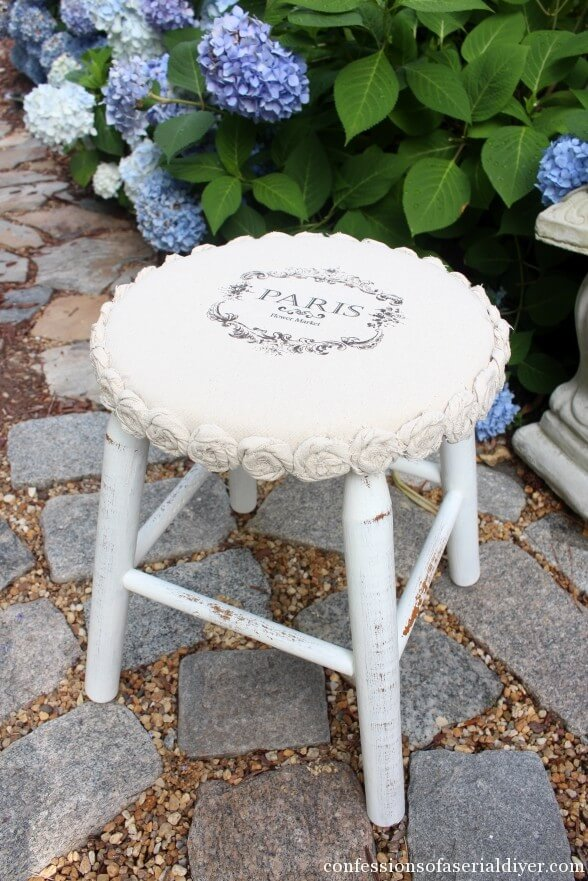 DIY Shabby Chic Furniture Idea with Rosettes
