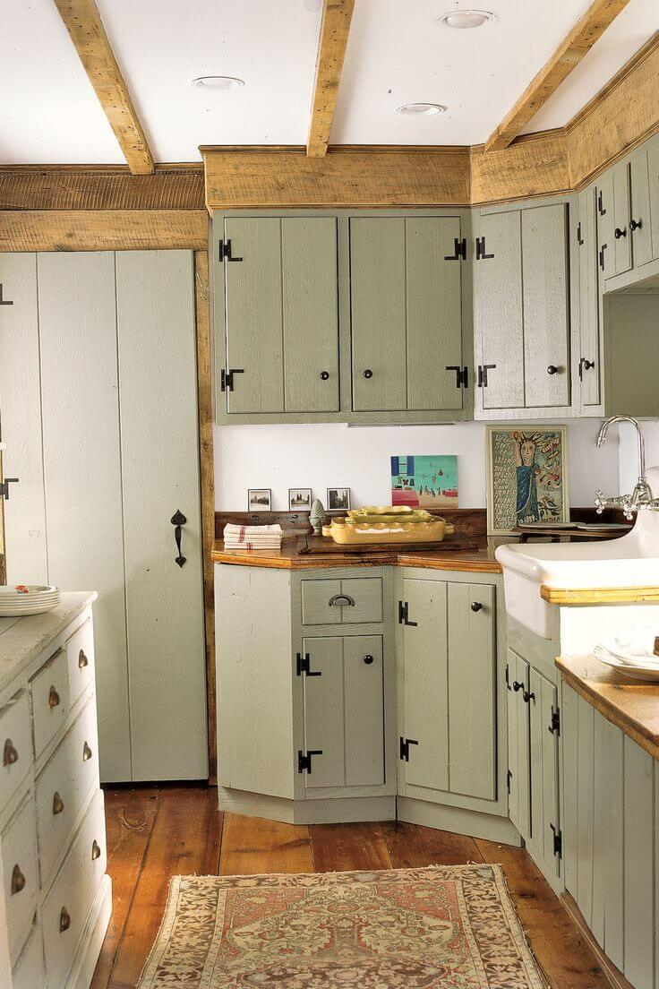 Farmhouse Style Cabinets with 70s Color Twist