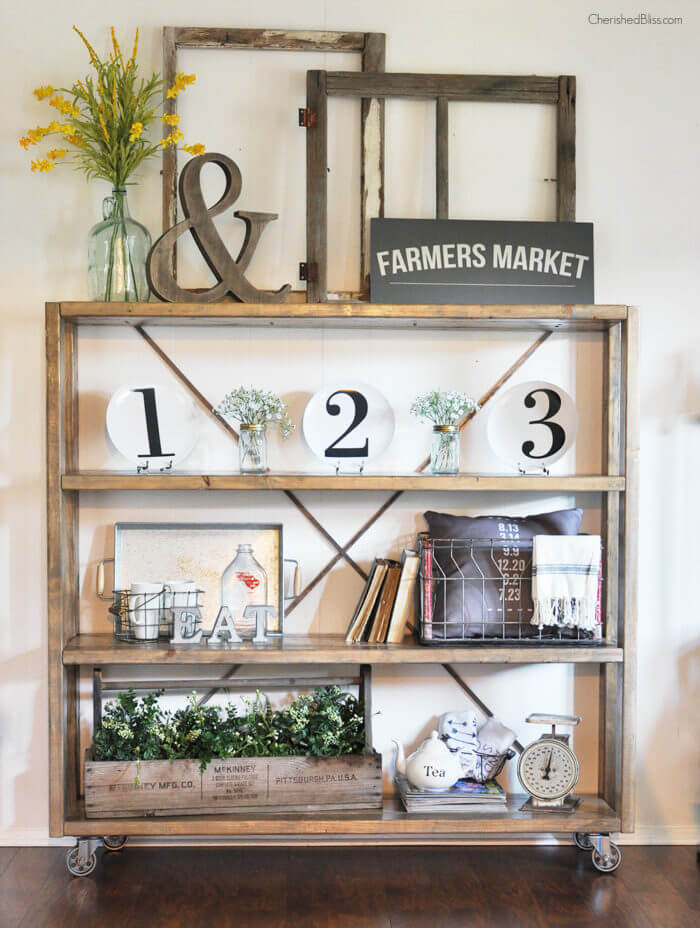 Rolling Bookshelf with Old Window Frames