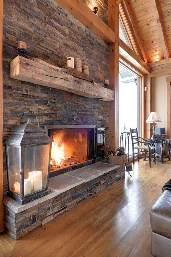Stacked Field Stone and Heavy Timber Mantle