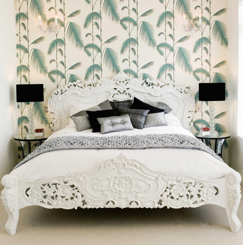 Floral Wallpaper in a White Furniture Bedroom