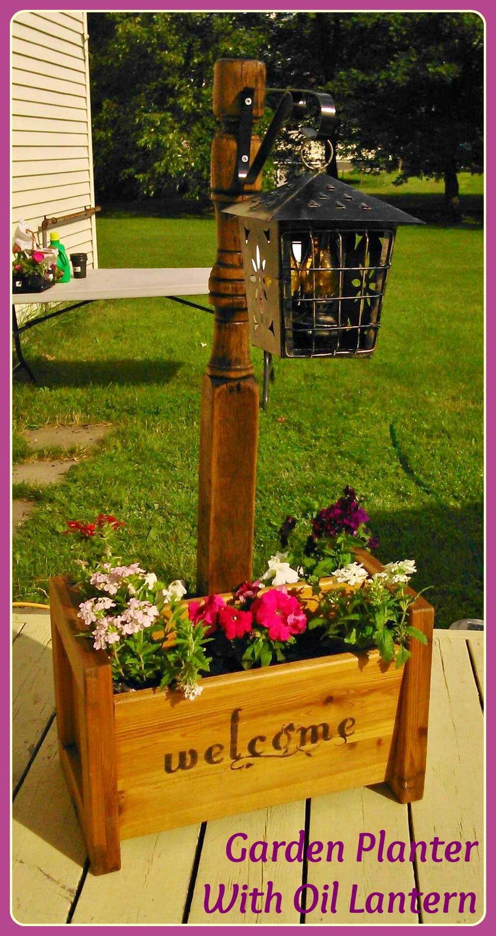 Multi-purpose Post with Flower Box and Lantern