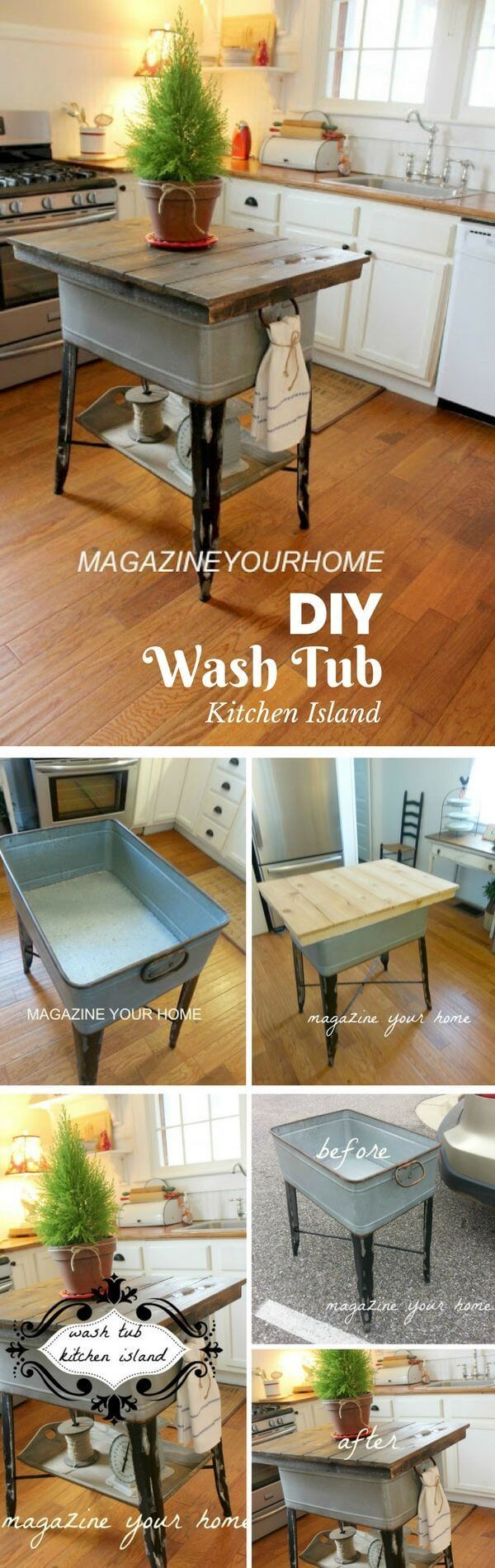 Kitchen Island Made from Wash Tub