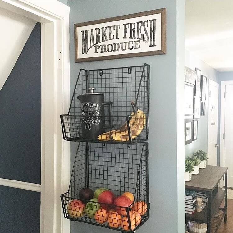 Hanging Produce Baskets With Sign