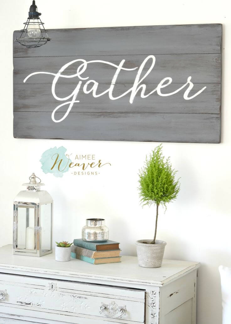 """Gather"" Sign on Weathered Wood"
