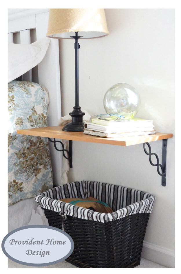Slimline Shelf with Wrought Iron Brackets