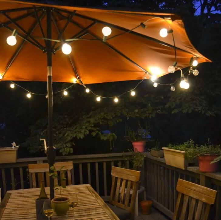Simple Bulbs Make Umbrellas Useful for Night Lighting