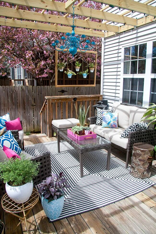 Charming Outdoor Seating Area with Colorful Touches