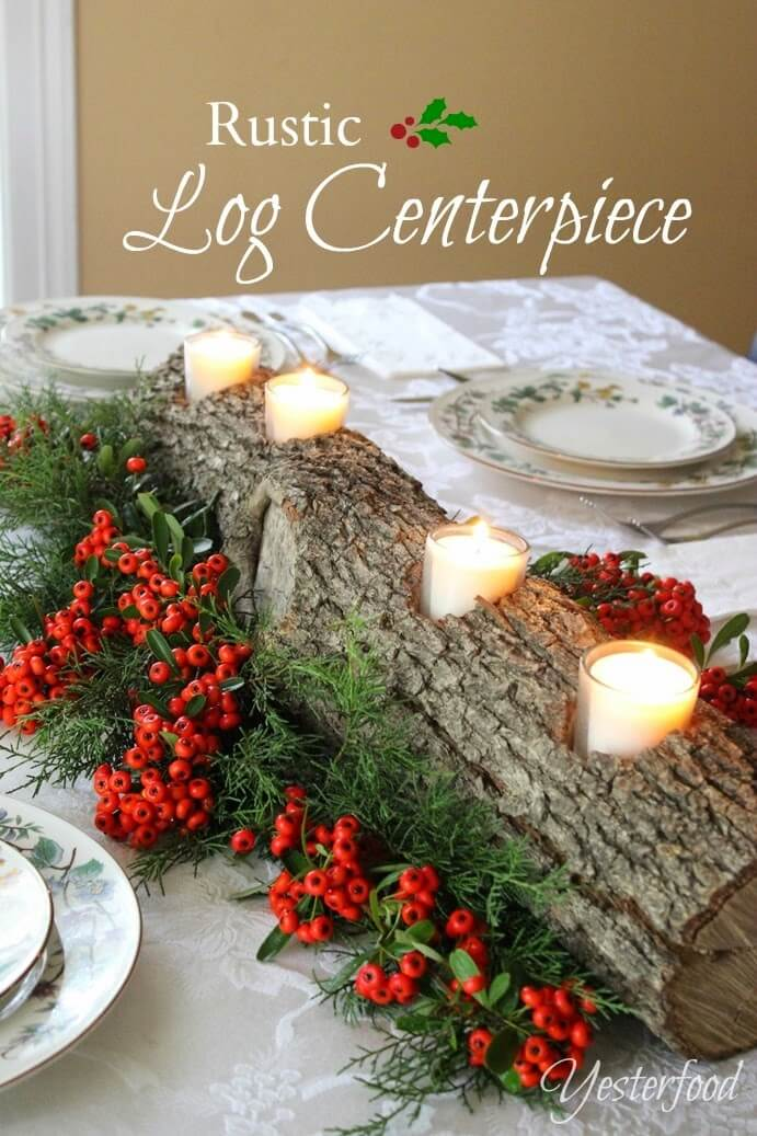 Rustic Log Centerpiece With Candles