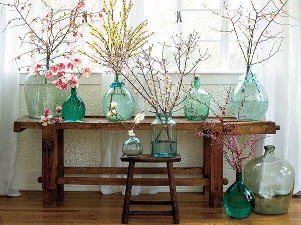 Colored Glass Bottle Flower Arrangements