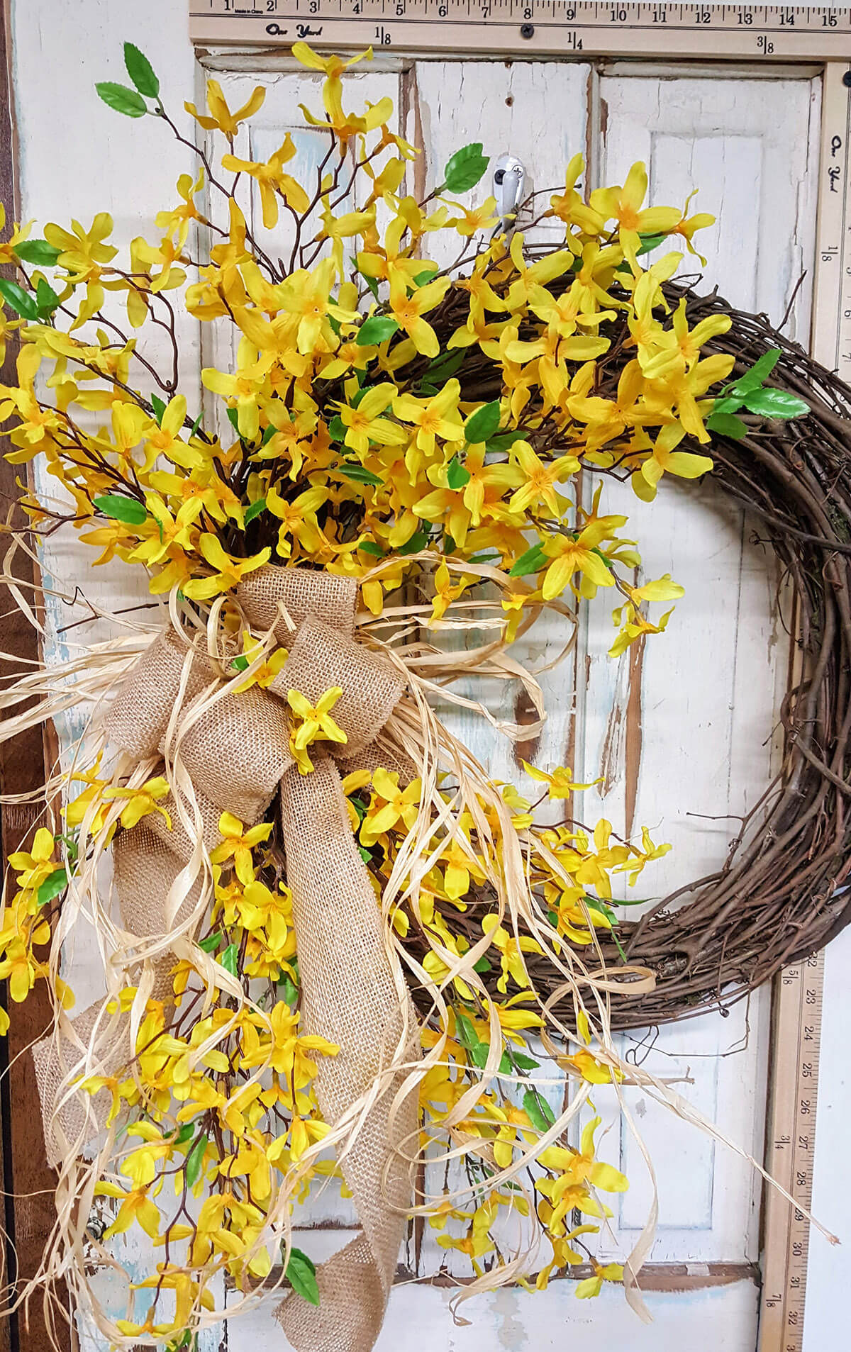 Showy Wreath with Burlap and Forsythias