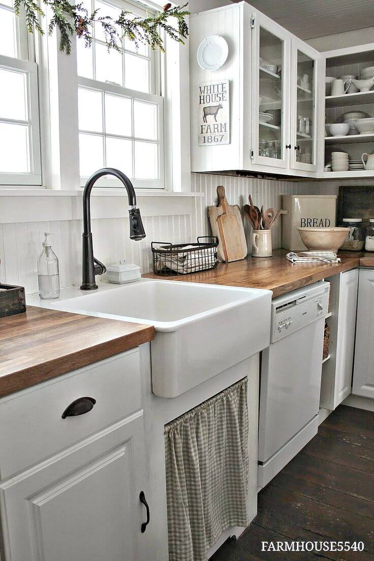 Floor to Ceiling Whitewashed Country Kitchen