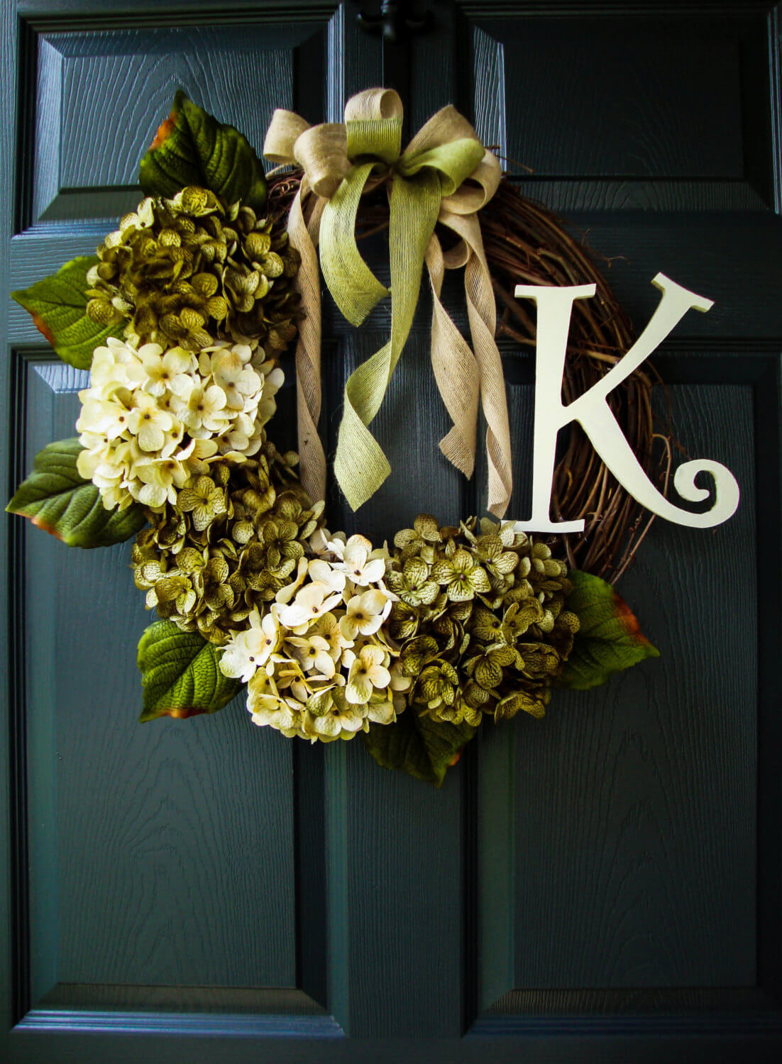 Initial Wreath With Twigs, Hydrangeas, and Ribbons