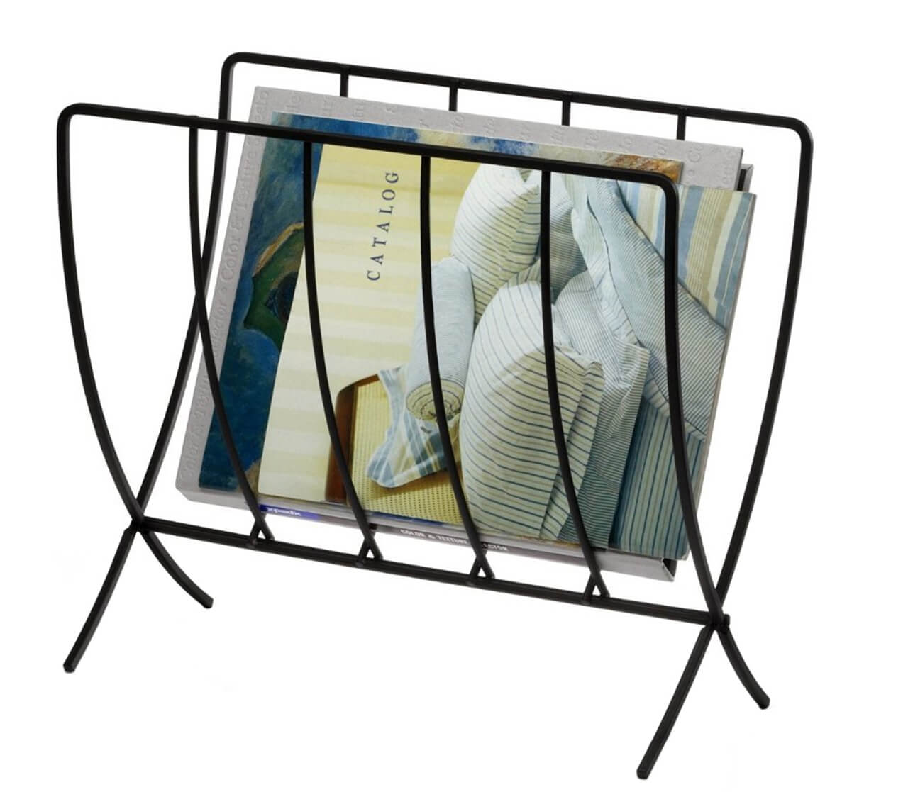 Black Wire Seville Floor Magazine Rack