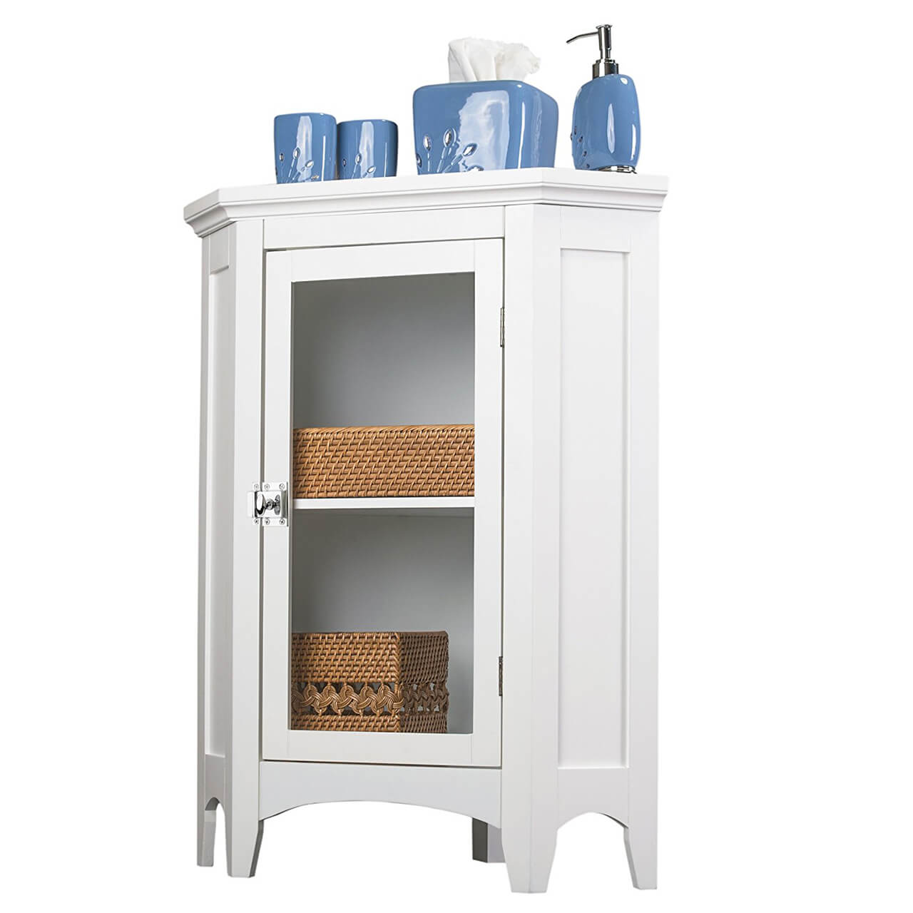 Elegant Home Fashions Madison Collection Shelved Corner Floor Cabinet