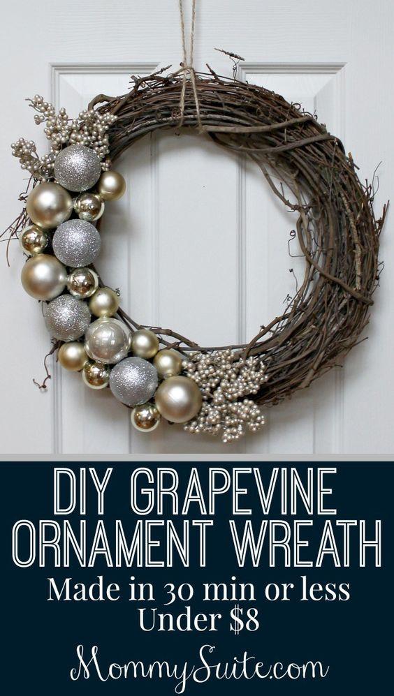 Elegant $10 Metallic Ornament Wreath